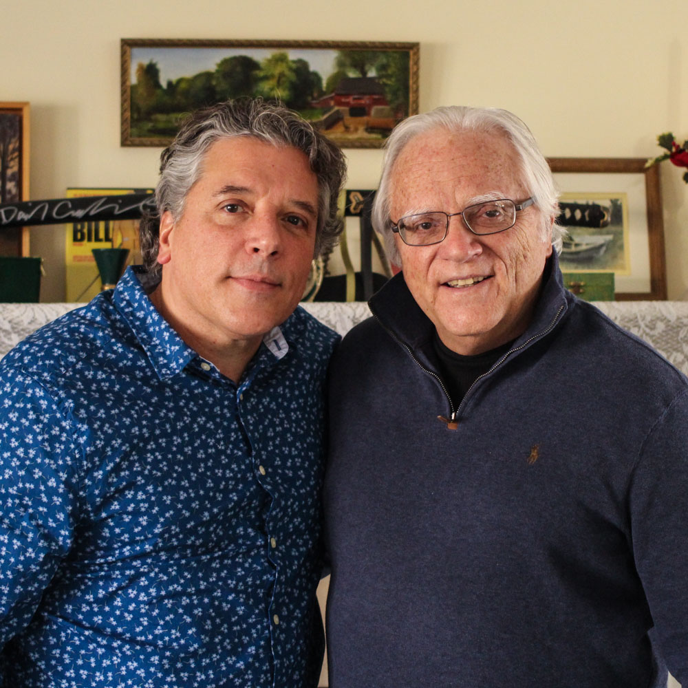 Caption: Thomas Germano and Tom Germano at their StoryCorps interview in North Babylon, NY, on February 7, 2020. , Credit: Camila Kerwin for StoryCorps.