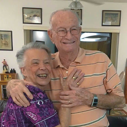 Caption: Lillian Bloodworth and her husband, John Bloodworth, at their home in Gulf Breeze, FL, on Thanksgiving Day, 2016., Credit: the Bloodworth family.