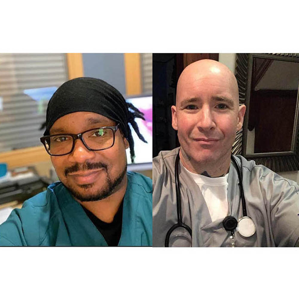 Caption: Friends for 30 years, Sam Dow (left) in Ann Arbor, Mich., and Josh Belser in Syracuse, N.Y., are both working on the front lines of the coronavirus pandemic., Credit: Josh Belser.