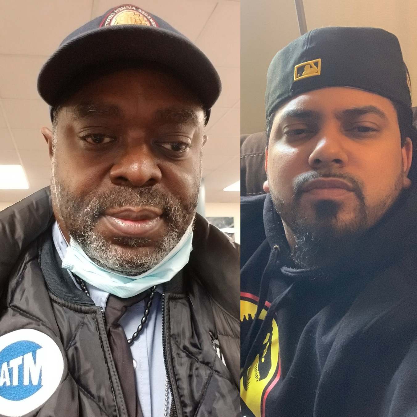 Caption: New York City MTA bus operators Tyrone Hampton (left) and Frank de Jesus spoke last week about how the coronavirus pandemic has affected their work. They talked during a remote StoryCorps conversation., Credit: Tyrone Hampton and Frank de Jesus.