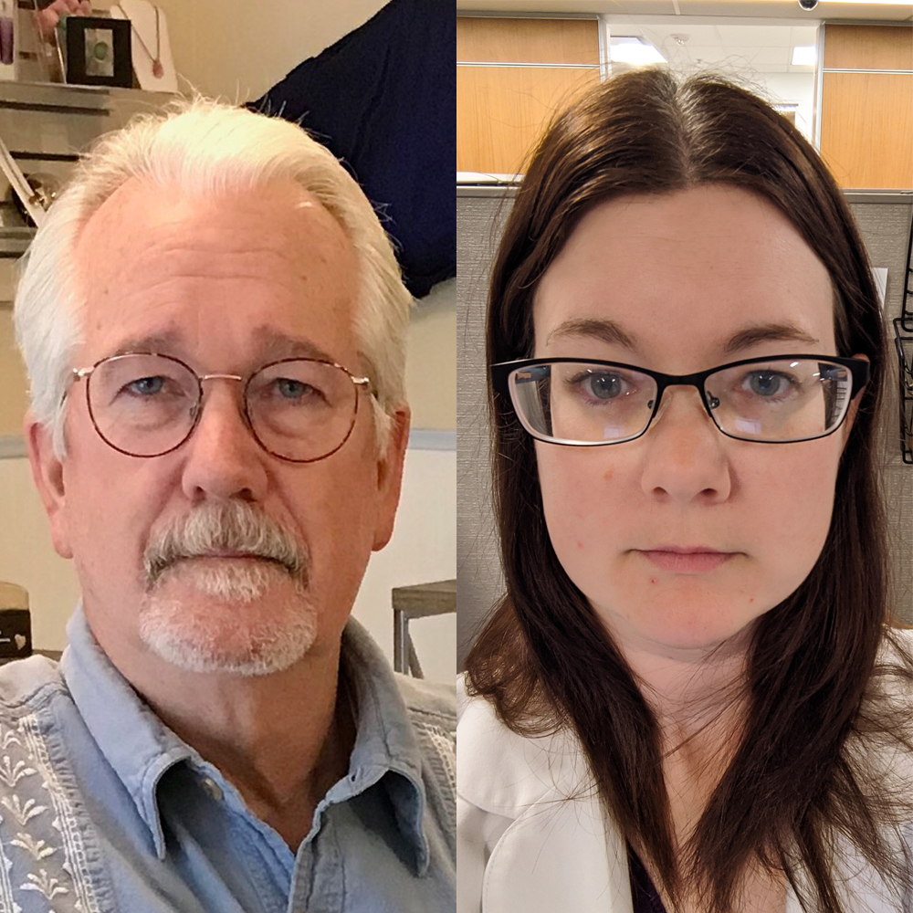 Caption: Shannon Doty (right) tells her father, Dan Flynn (left), in a remote StoryCorps conversation, that his dedication to help others inspired her goal to work in the medical field., Credit: Dan Flynn and Shannon Doty for StoryCorps.