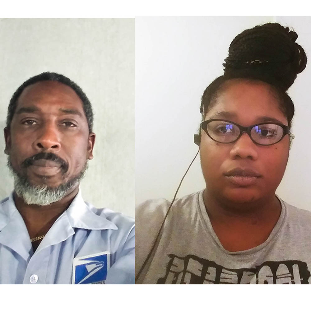 Caption: Craig Boddie and Evette Jourdain, both mail carriers in Palm Beach, Fla., spoke for a remote StoryCorps conversation last month about the job risks created by the coronavirus outbreak., Credit: Courtesy of Craig Boddie and Evette Jourdain for StoryCorps.