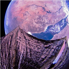 Caption: This image taken by LightSail 2's camera 2 on 9 February 2020 shows the Red Sea and the Nile River. North is approximately at right. The sail appears slightly curved due to the spacecraft's 185-degree fisheye camera lens. The image has been color adjusted, Credit: The Planetary Society