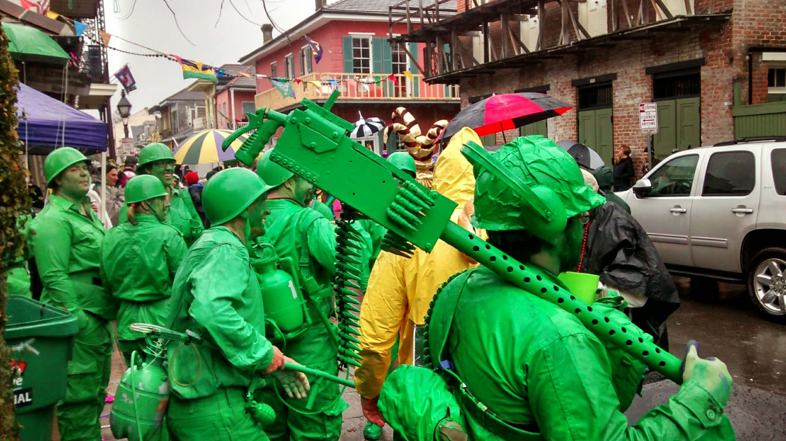 Caption: One of these army men is me at Mardi Gras
