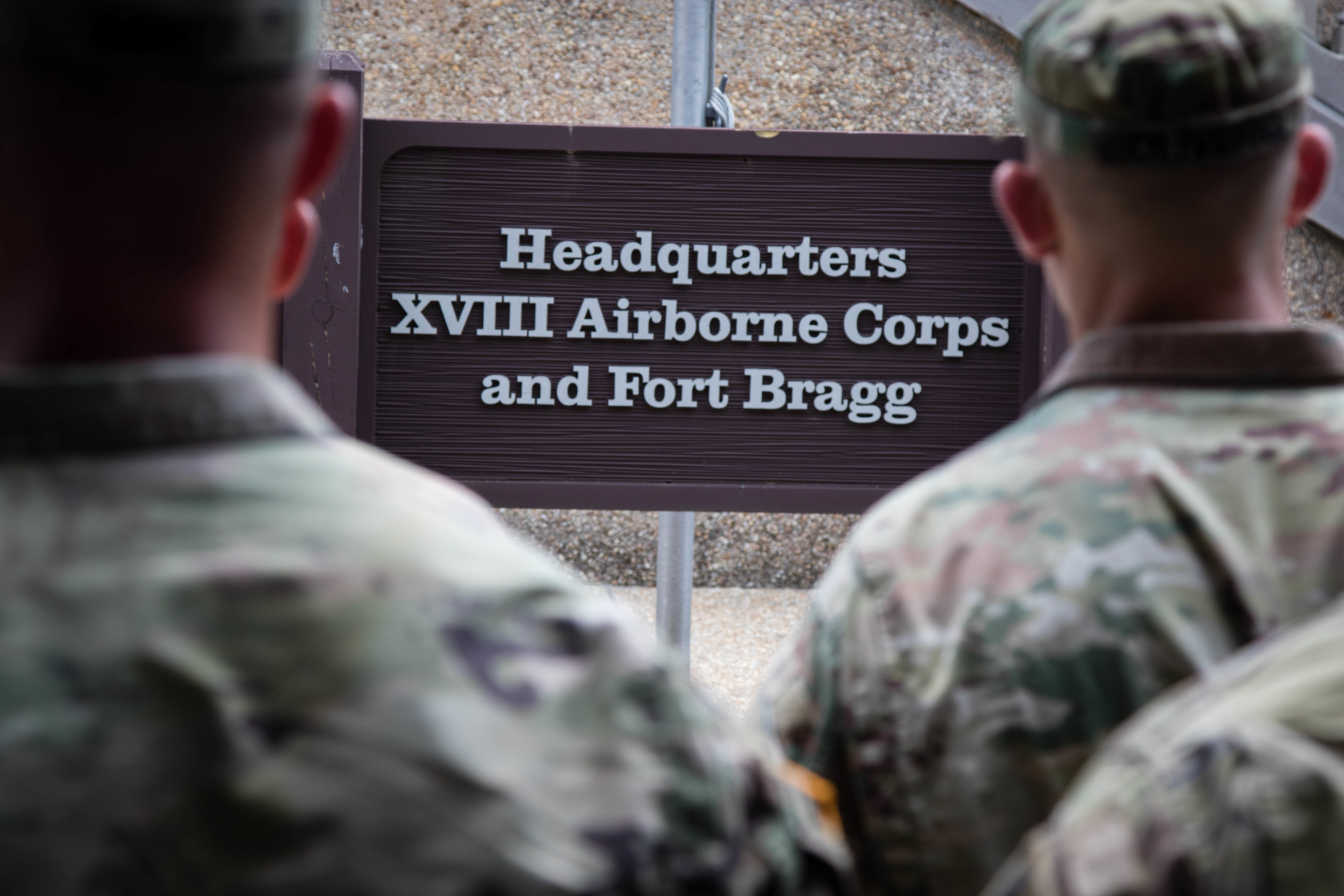Caption:  Soldiers gather for a 2019 awards ceremony at Fort Bragg, N.C. The base is one of 10 that Pentagon leaders say they are open to renaming., Credit: Joshua Cowden / U.S Army