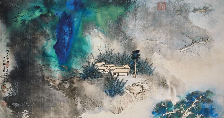 """Caption: Zhang Daqian """"Retreat in the Bamboo Grove"""" (1977), Credit: Christies"""
