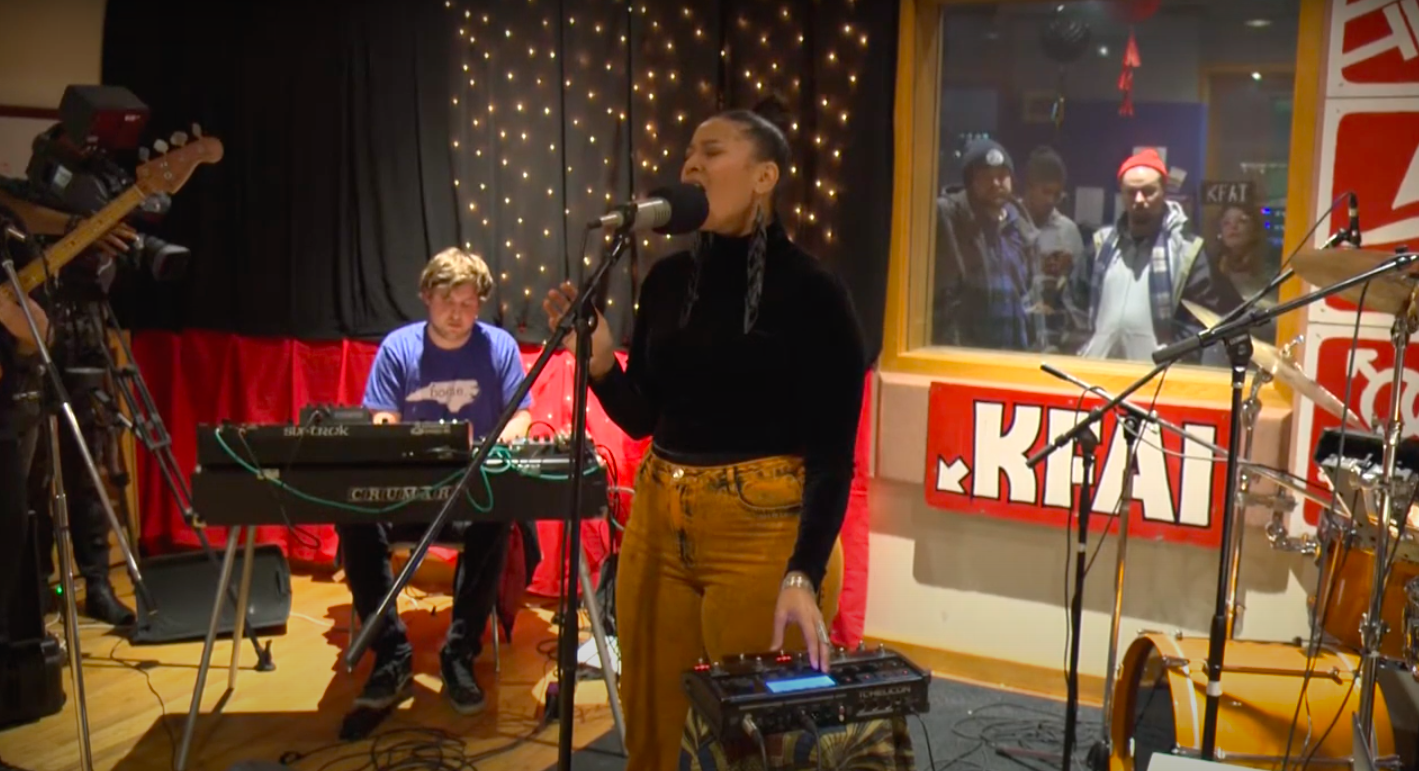 Caption: Lady Midnight and her band perform at KFAI studios in Minneapolis., Credit: St. Paul Neighborhood Network