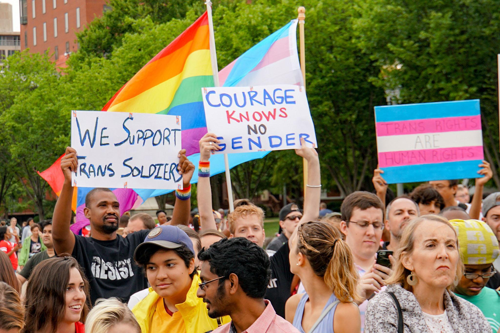 Caption: Protesters opposed to the Trump Administration's military transgender ban march in Washington, D.C. in a July 2107 demonstration., Credit: Ted Eytan / Wikimedia