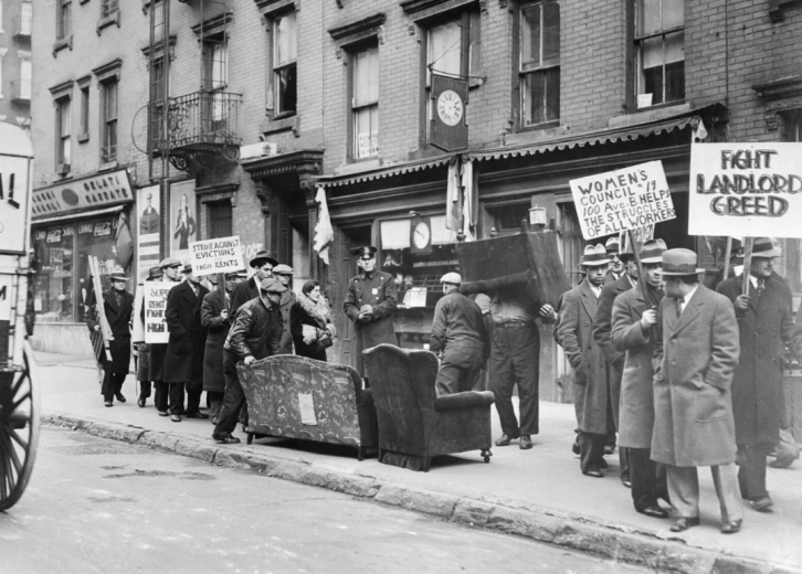 Caption: An eviction protest in New York City dated Jan. 11, 1933.
