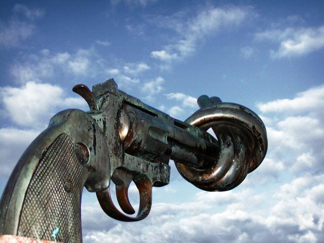 Caption: Non Violence Sculpture, Credit: Carl Fredrik Reutersward, Malmo Sweden