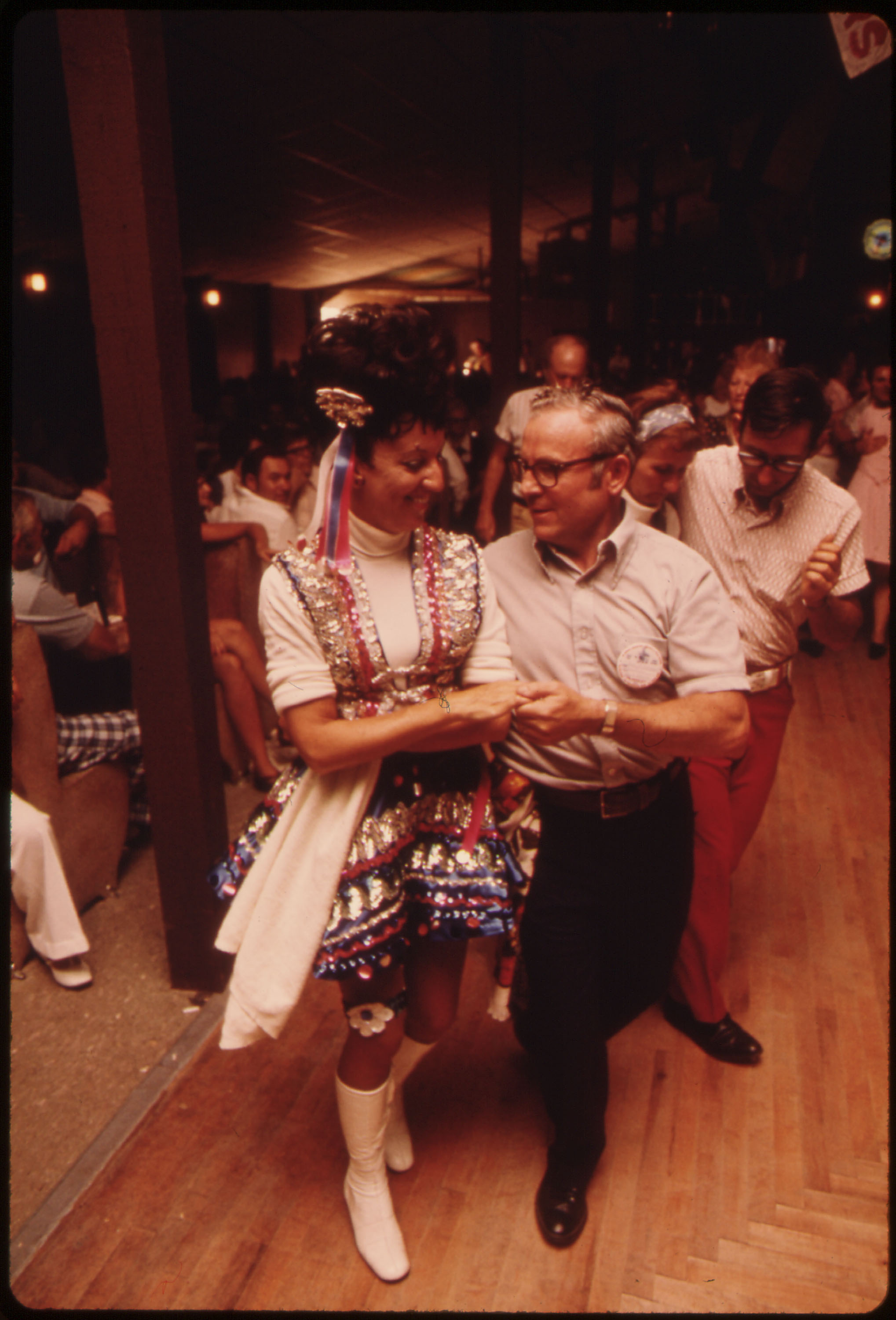 Caption: Polka dancers: Polka dancing during Polka Days at the Gibbon Ballroom in Gibbon, Minnesota, circa 1975, Credit: Flip Schulke / U.S. National Archives