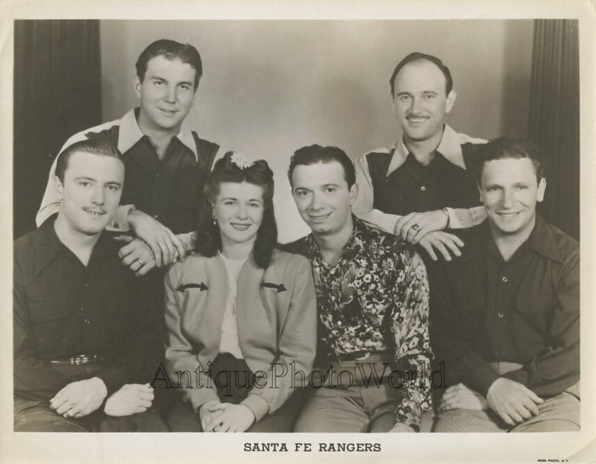 Caption: Center is Shorty Long and Dolly Dimples (Emidio Vagnoni and Gladys Ulrich) with the Santa Fe Rangers (who all live in Exeter Township, PA)