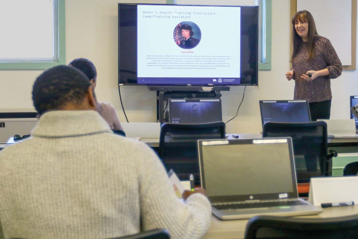 Caption: Female service members and veterans attend a Veterans Affairs Women's Health Transition Training event at Fort Carson, Col. in February. The training program now has moved online because of the COVID-19 pandemic., Credit: Neysa Canfield / U.S. Army
