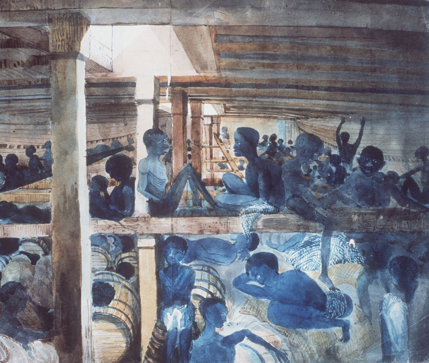 Caption: This pencil and watercolor by Lt. Francis Meynell shows Africans liberated by the British Navy. The Albanez (erroneously identified as Albaroz in the National Maritime Museum catalog) was a Brazilian vessel, captured by the Royal Navy ship, Albatross, off, Credit: Image is in the public domain. Creative Commons Attribution Non-Commercial 4.0 International.