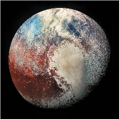 Caption: False color image of Pluto taken by the New Horizons spacecraft., Credit: NASA/JHUAPL