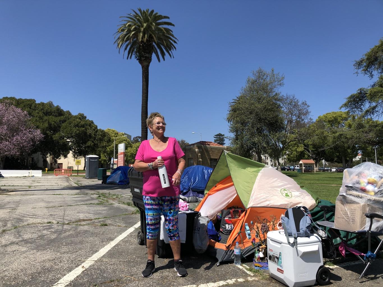Caption: Former Air Force medic Lisa Thompkins is among the veterans living at the West L.A. VA's tent encampment., Credit: Matt Tinoco / KPCC