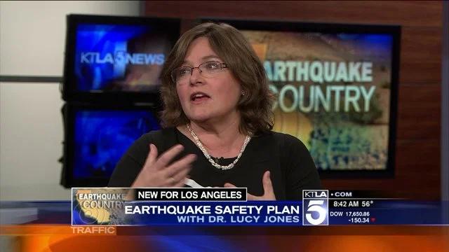 Caption: Dr. Lucy Jones on KTLA in Los Angeles