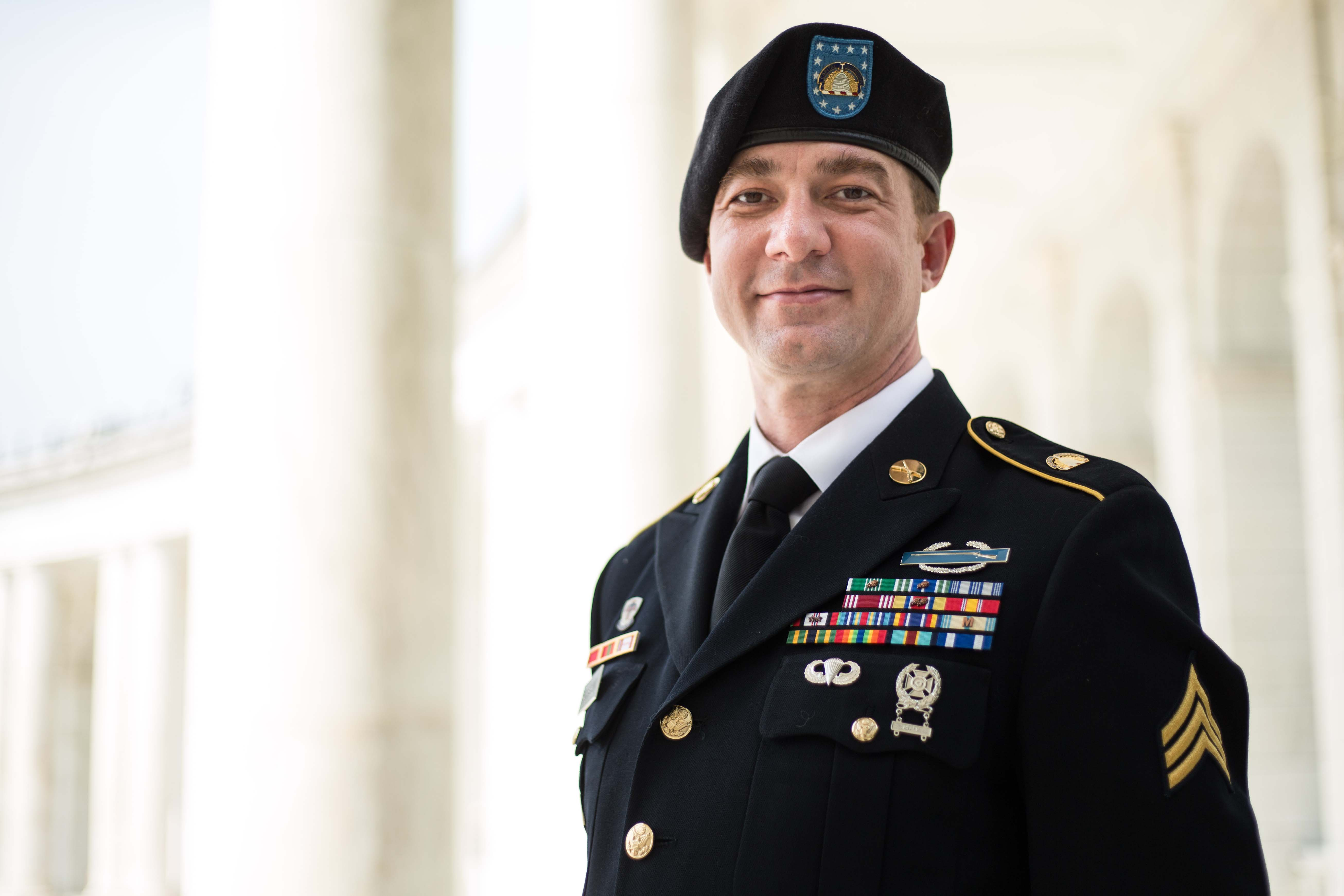 Caption: Army National Guard Sgt. Nick Harrison is one of several service members challenging the military policy that prevents HIV positive troops from deploying or becoming officers., Credit: Lambda Legal