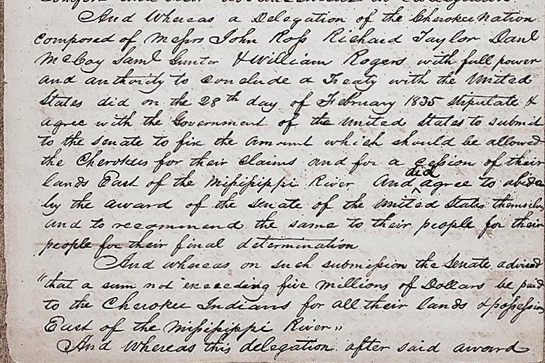 Caption: Treaty of New Echota, 1835, Credit:  NATIONAL ARCHIVES