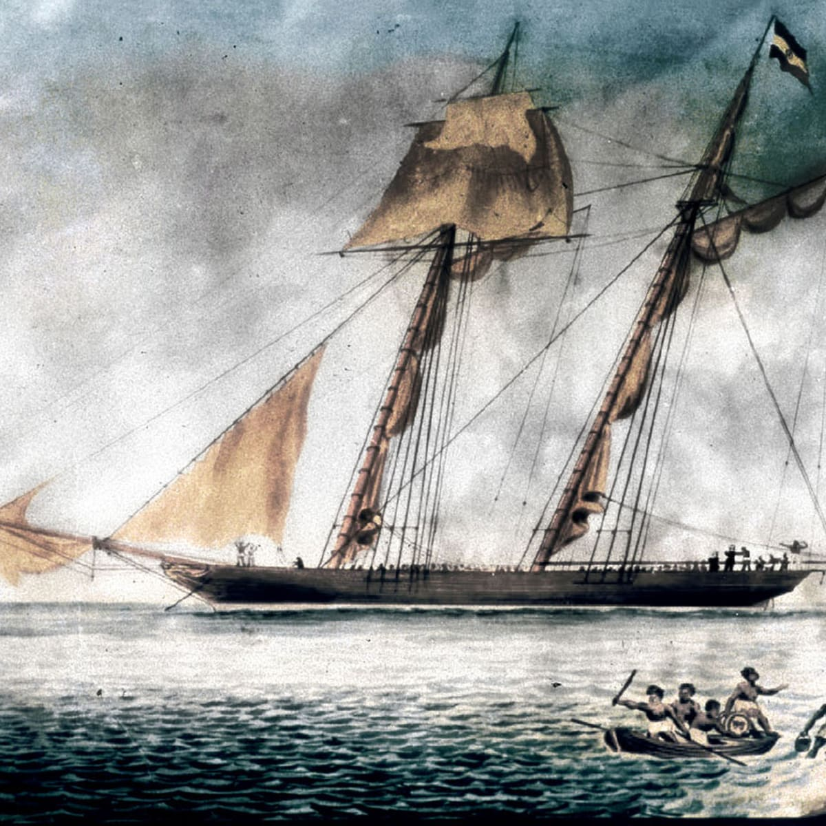 Caption: Oil painting of La Amistad off the coast of Long Island , Credit: Courtesy of the New Haven Museum