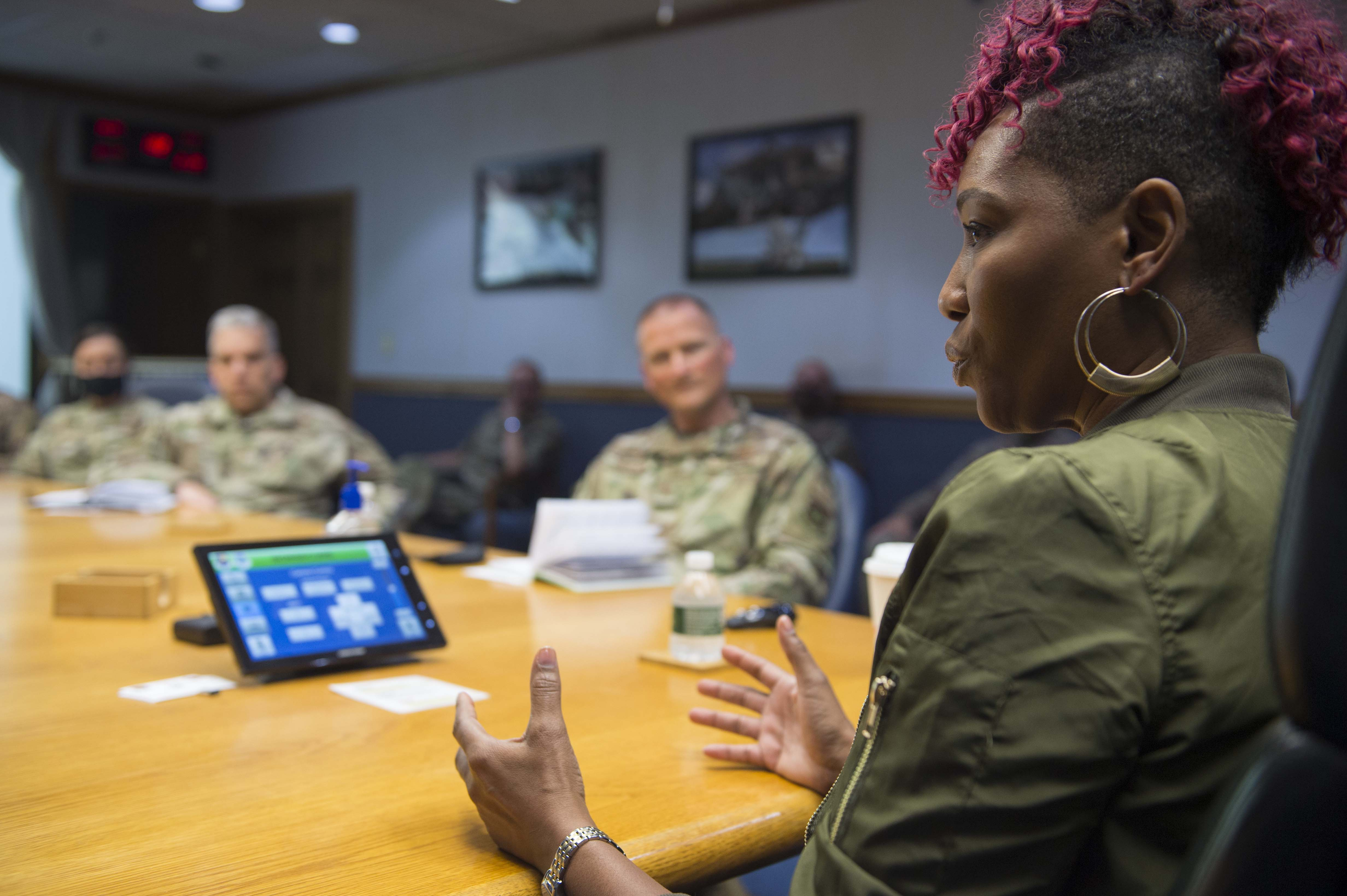 Caption: Risha Grant, an inclusion and bias expert, holds a closed-door discussion with leaders at Joint Base McGuire-Dix-Lakehurst, N.J. June 30. Throughout the summer, the Air Force has been holding town halls and trainings about racial injustice., Credit: Sarah Brice / U.S. Air Force