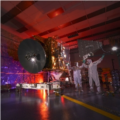 Caption: The Emirates Mars Mission Hope spacecraft undergoes testing., Credit: UAE Space Agency