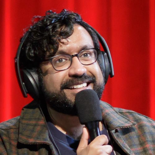 Caption: Hari Kondabolu on Live Wire, Credit: Jennie Baker