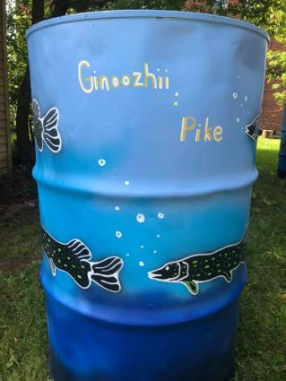 Caption: Grand Marais trash receptacle, art and photo by Sam Zimmerman