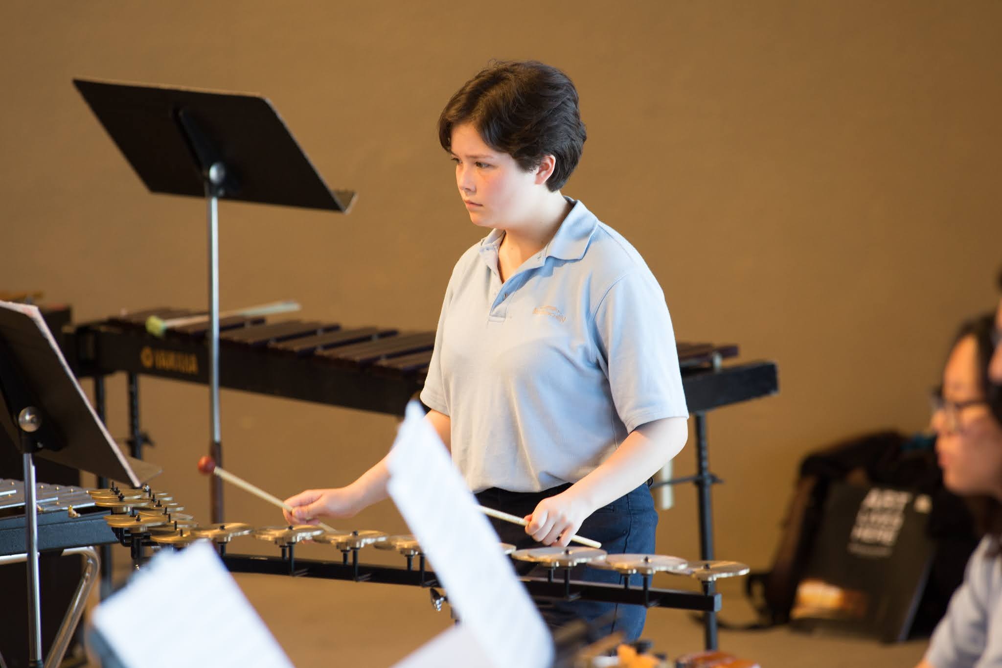 Caption: A student percussionist in the 2016 World Youth Wind Symphony, Credit: Interlochen Center for the Arts