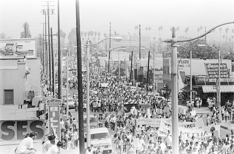 Caption: Chicano Moratorium march, Aug. 29, 1970., Credit: Courtesy of Joe Razo and the publication La Raza.