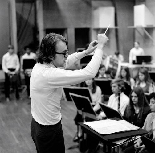 Caption: Byron Hanson conducts the Interlochen Arts Academy Band in the 1971-72 Academy year, Credit: Interlochen Center for the Arts