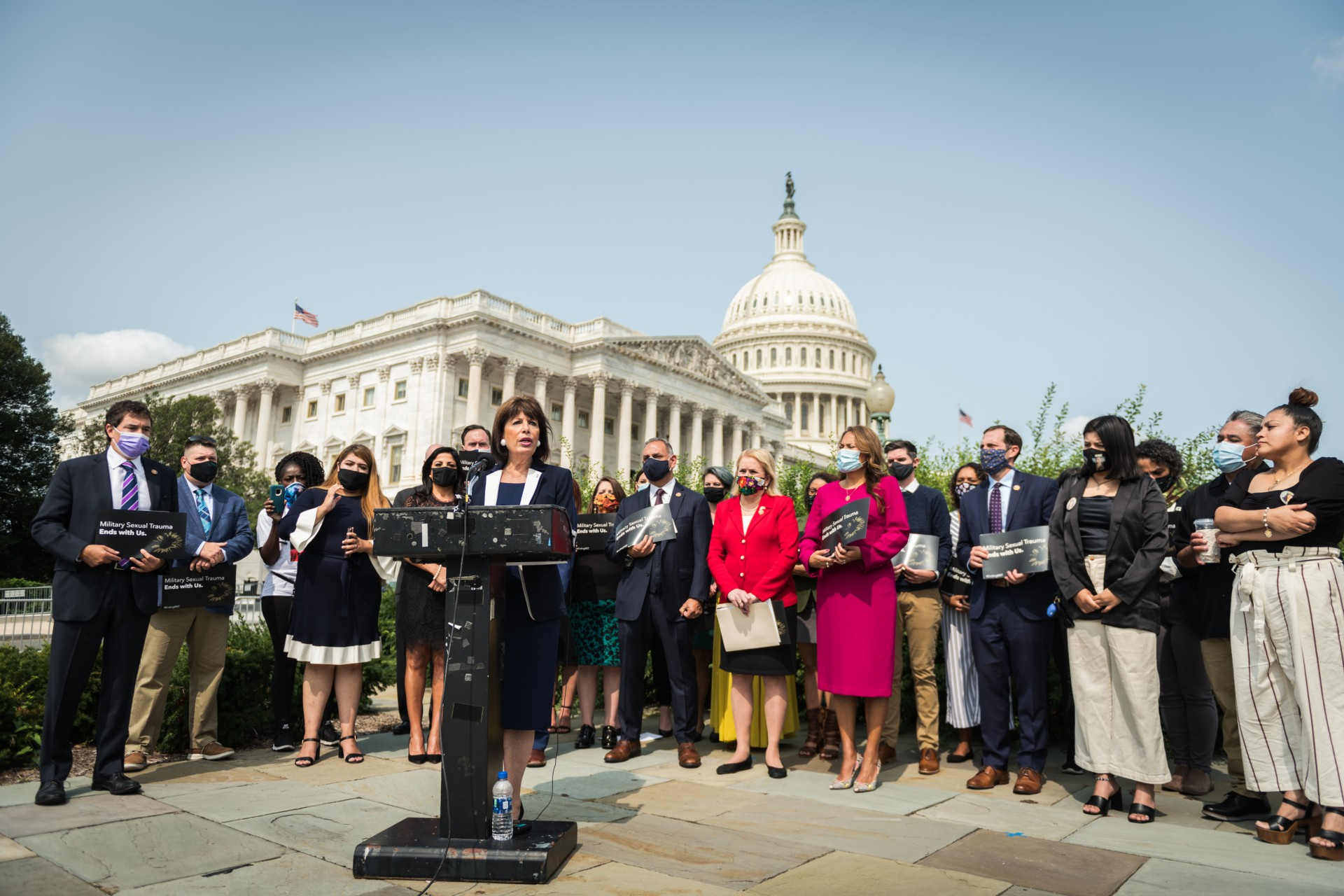 Caption: Accompanied by members of Vanessa Guillen's family, Rep. Jackie Speier (D-Cal.) unveils legislation to reform the military's response to sexual harassment and assault., Credit: Rep. Jackie Speier