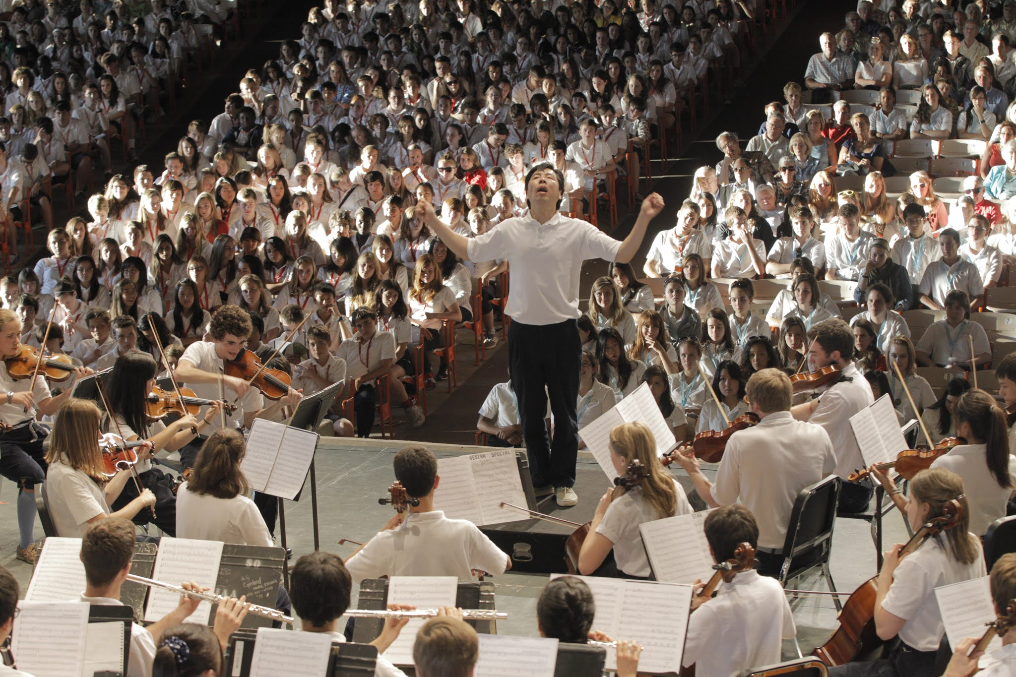 Caption: Jung-Ho Pak conducts the World Youth Symphony Orchestra in 2011, Credit: Interlochen Center for the Arts