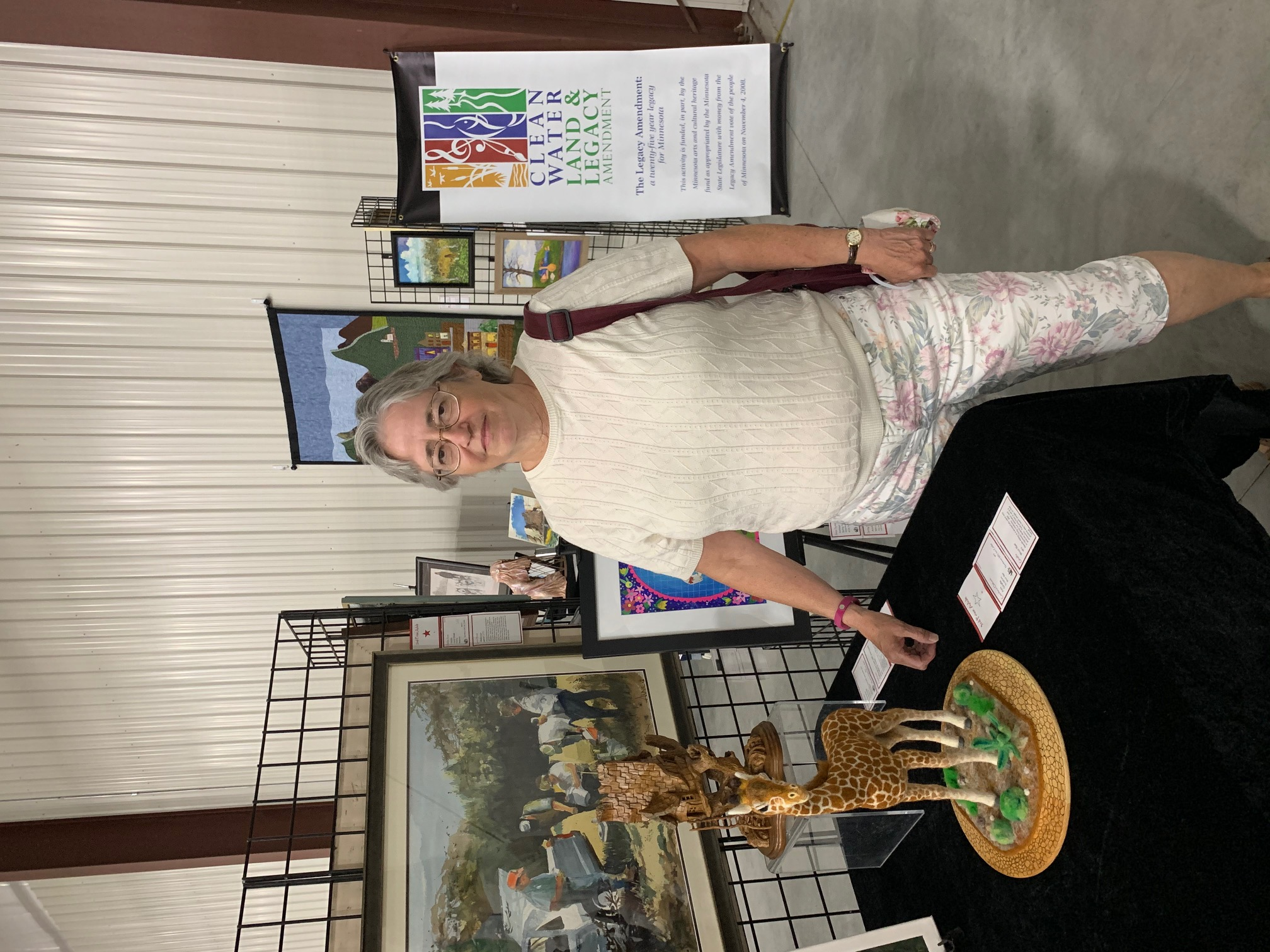 Caption: Candace Osborn of Ada, MN with her award-winning giraffe!