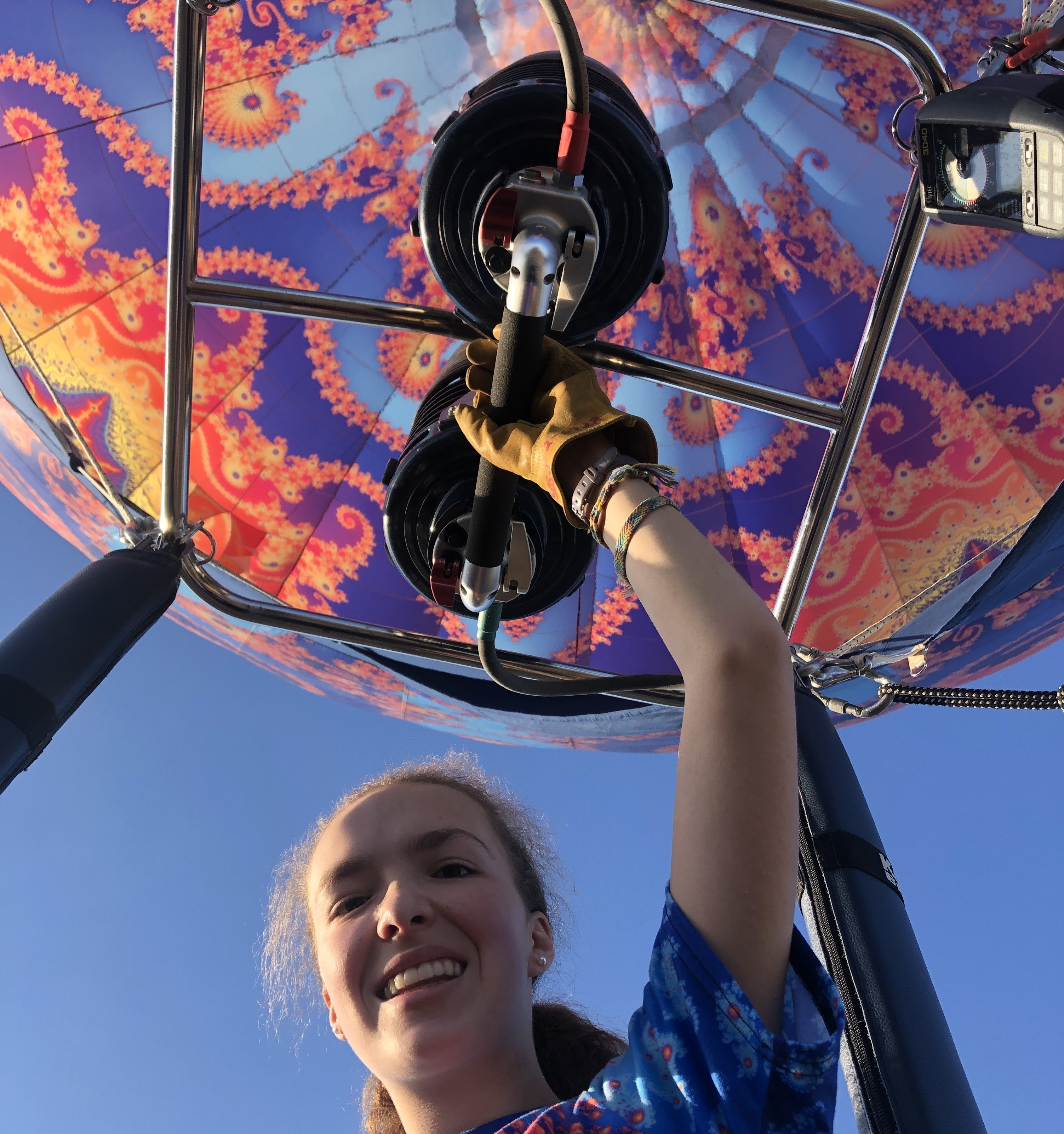 Caption: Julia Wolfe, 15 year old hot air balloon pilot in training, Credit: Dr. Jonathan Wolfe