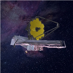Caption: An artist's impression of the fully-deployed James Webb Space Telescope, planned for launch in 2021., Credit: NASA