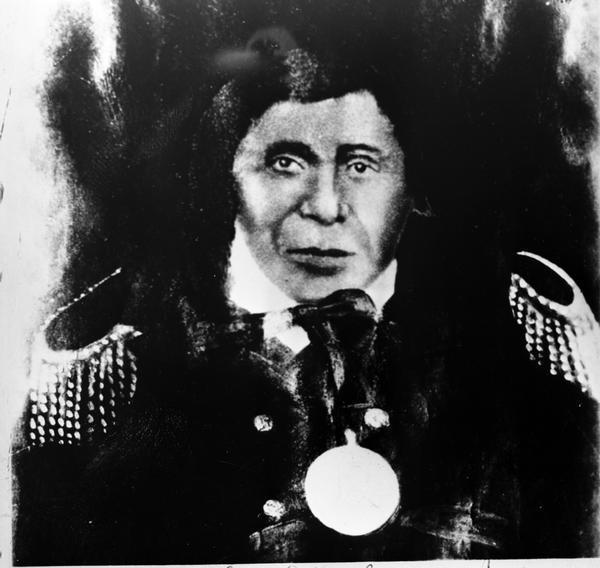 Caption: Portrait of Chief Buffalo, over-painted enlargement, possibly from a double-portrait (possibly an ambrotype). He was born at La Pointe on Madeline Island in about 1759, and died 7 September 1855 at La Pointe, Credit: Wisconsin Historical Society
