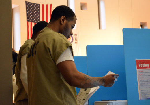 Caption: Talman Anderson votes in the Illinois presidential preference primary from the Cook County Jail, Credit: Photo by Pamela Kirkland