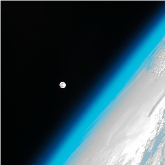 Caption: The moon and Earth's edge, photgraphed from the International Space Station., Credit: NASA