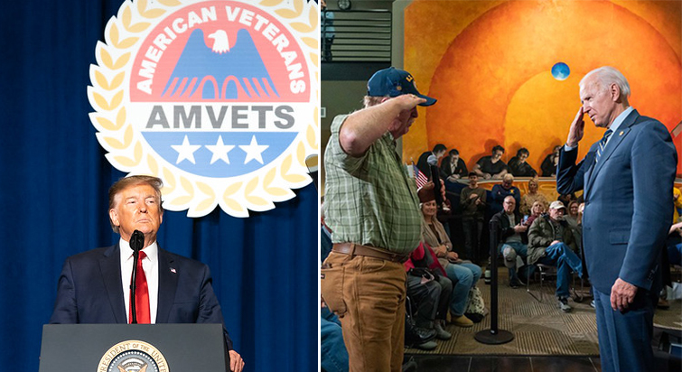 Caption: President Donald Trump speaks at a 2019 American Veterans Convention in Louisville, Ky. Former Vice President Joe Biden salutes a veteran at a 2019 Iowa town hall event., Credit: Shealah Craighead / Official White House photo. Adam Schultz / Biden for President