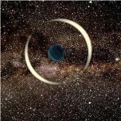 Caption: An artist's impression of a gravitational microlensing event by a free-floating planet., Credit: Jan Skowron / Astronomical Observatory, University of Warsaw