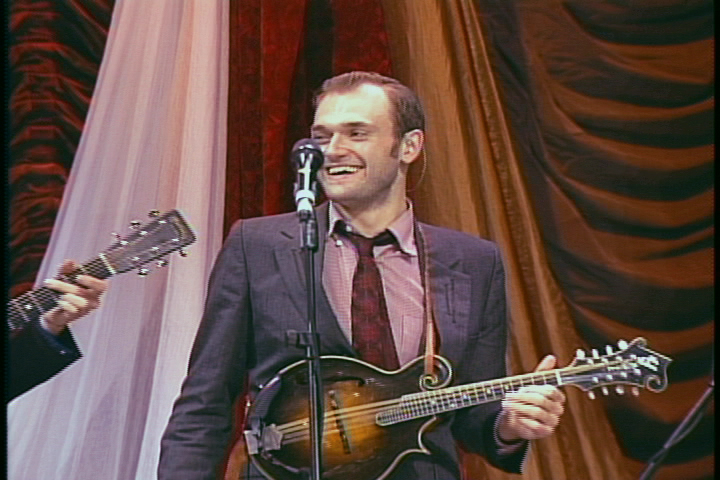 Caption: Chris Thile on the WoodSongs Stage.