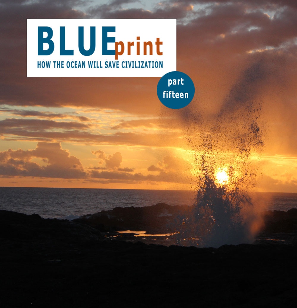 Caption: Spouting Horn blow hole at sunset. Courtesy: NOAA