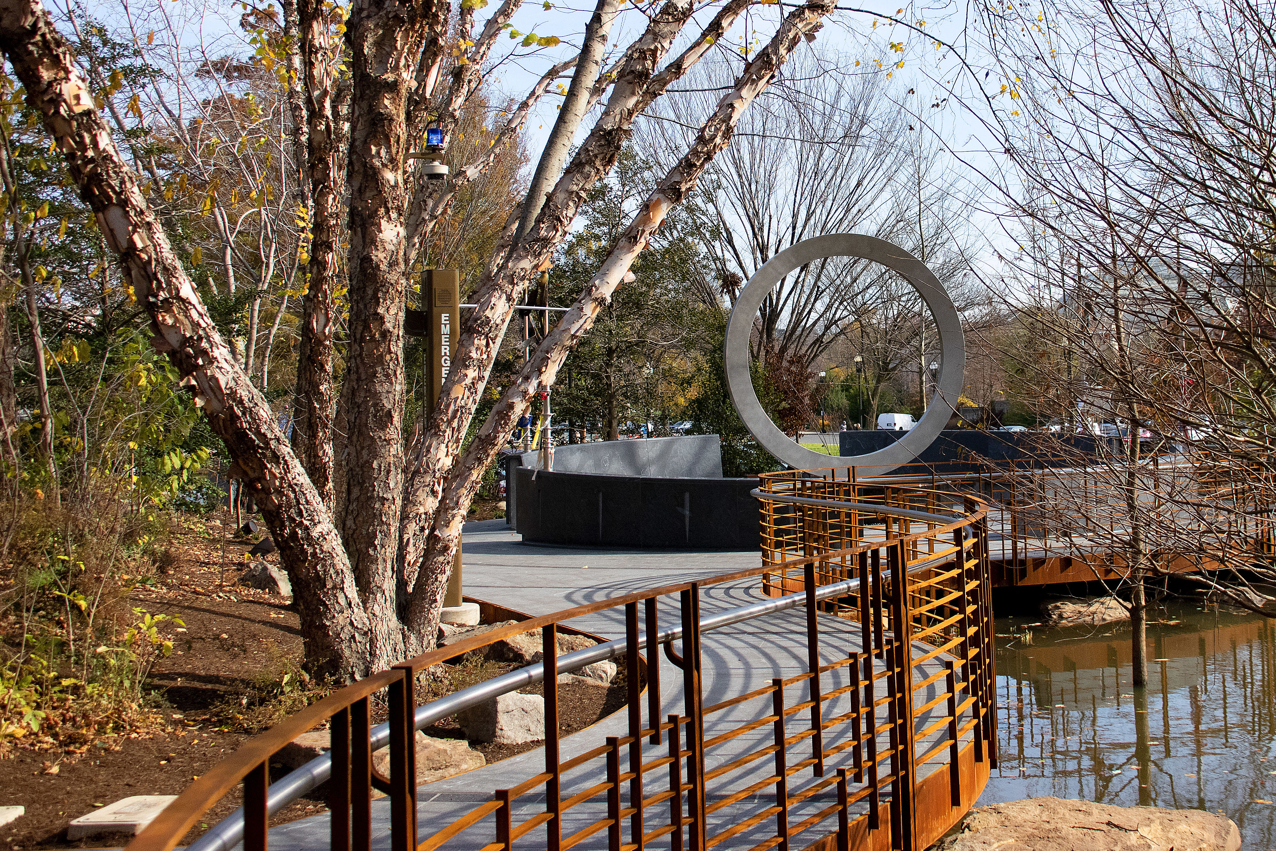 Caption: The National Native American Veterans Memorial in Washington, D.C. opened in November. The monument incorporates water for sacred ceremonies, benches, and lances where visitors can tie cloths for prayers and healing., Credit: Ron Cogswell / Flickr