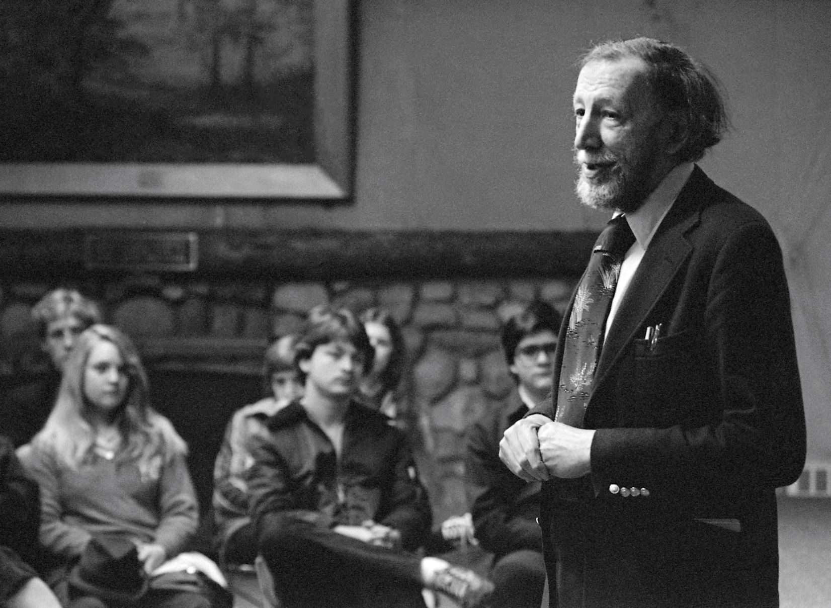 Caption: Alan Hovhaness works with Academy students in April 1982, Credit: Interlochen Center for the Arts