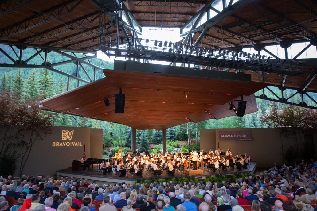 Caption: The New York Philharmonic performs at Bravo! Vail in 2019., Credit: Chris Lee
