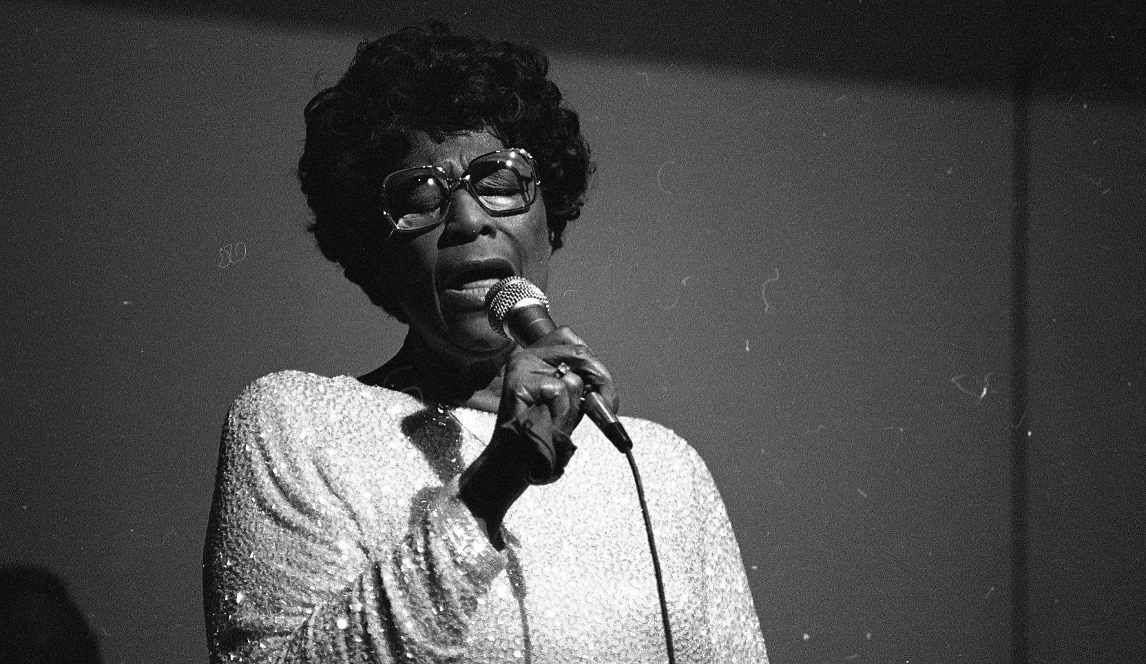 Caption: Ella Fitzgerald performs at Interlochen in July 1984, Credit: Interlochen Center for the Arts