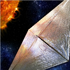 Caption: Artist concept of the Solar Cruiser sail approaching the Sun, though it won't actually get nearly this close., Credit: NASA