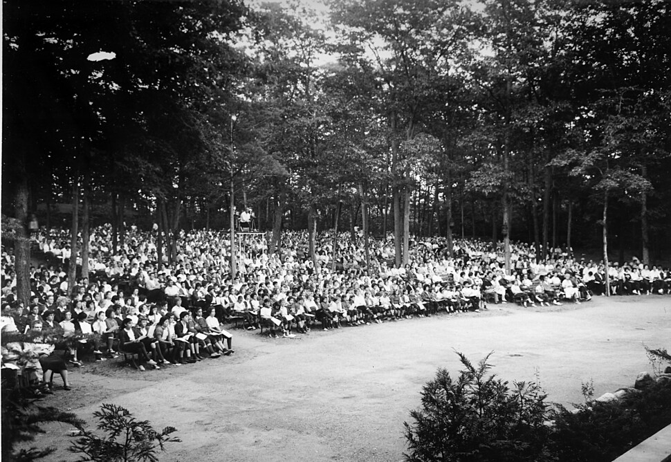 Caption: An audience at the Interlochen Bowl, 1961, Credit: Interlochen Center for the Arts