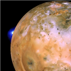 Caption: Volcano Loki Patera erupts on Jupiter's moon Io. Io inspired the first movement of The Moons Symphony., Credit: NASA